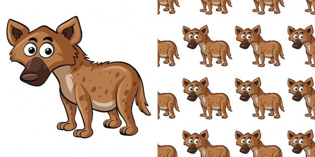 Naadloze patroon met schattige hyena Premium Vector