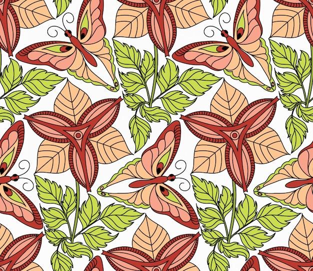 Naadloze patroon met vlinders en bloemen Premium Vector