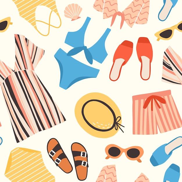 Naadloze patroon met zomer kleding en accessoires op witte achtergrond - zonnebril, korte broek, strooien hoed, zwembroek, tuniek. plat kleurrijke illustratie voor textieldruk, inpakpapier Premium Vector