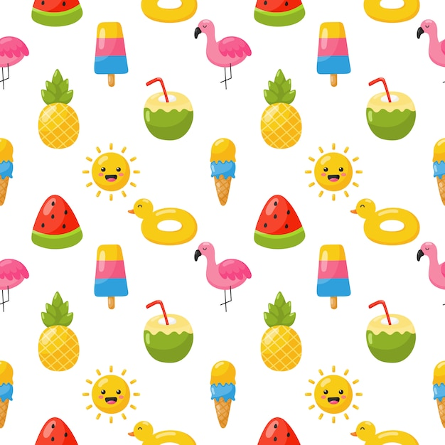 Naadloze patroon met zomer pictogrammen. reizen en toerisme op wit. Premium Vector