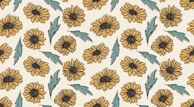 Naadloze patroon met zonnebloemen Premium Vector