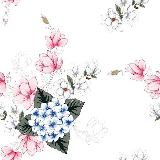 Naadloze patroon mooie bloemen achtergrond. Premium Vector