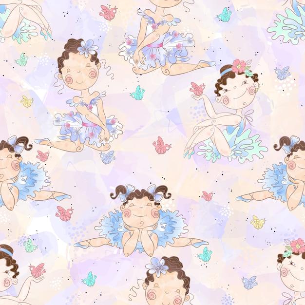 Naadloze patroon mooie meisjes ballerina's. Premium Vector
