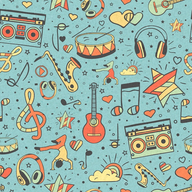 Naadloze patroon muziekinstrumenten, notities en koptelefoon, speler Premium Vector