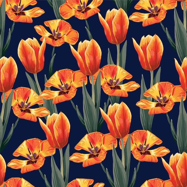 Naadloze patroon oranje kleuren tulpen bloemen achtergrond. Premium Vector