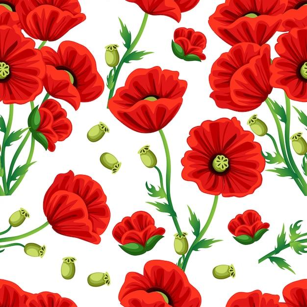 Naadloze patroon. rode papaver bloem met groene bladeren. illustratie op witte achtergrond. website-pagina en mobiele app Premium Vector