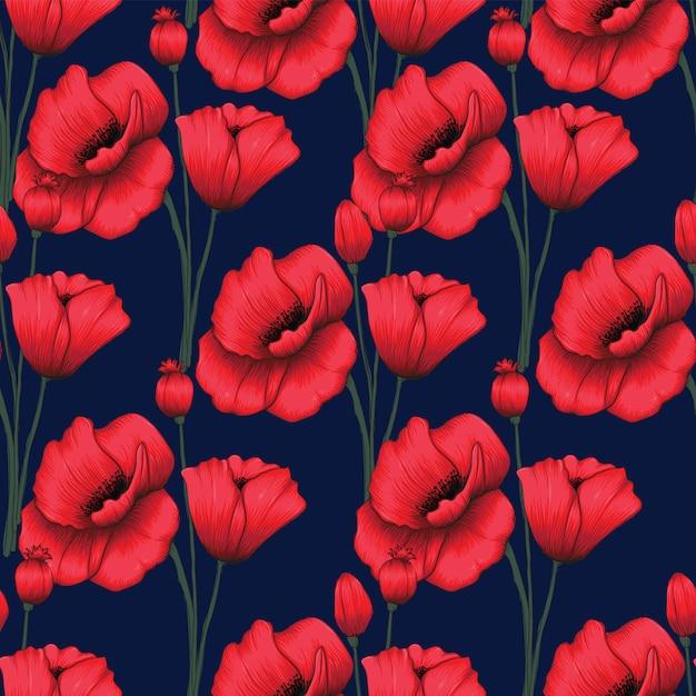 Naadloze patroon rode papaver bloemen Premium Vector