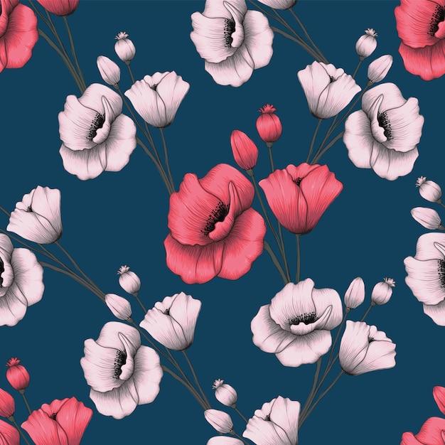 Naadloze patroon roze pastel poppy bloemen Premium Vector