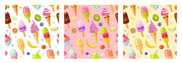 Naadloze patroon schattig fruit ijs tekens. kindstijl, aardbei, framboos, watermeloen, citroen, banaan pastelkleurachtergrond. kawaii emoji, karakters, glimlachillustratie Premium Vector