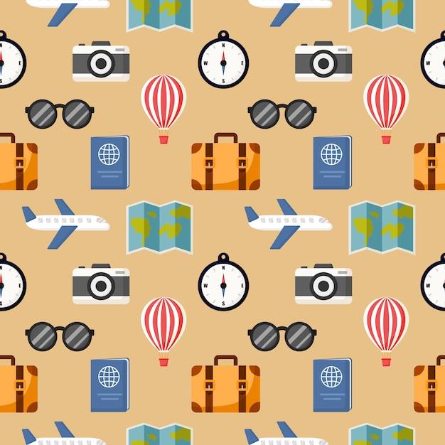 Naadloze patroon schattig reizen cartoon stijl geïsoleerd op crème Premium Vector