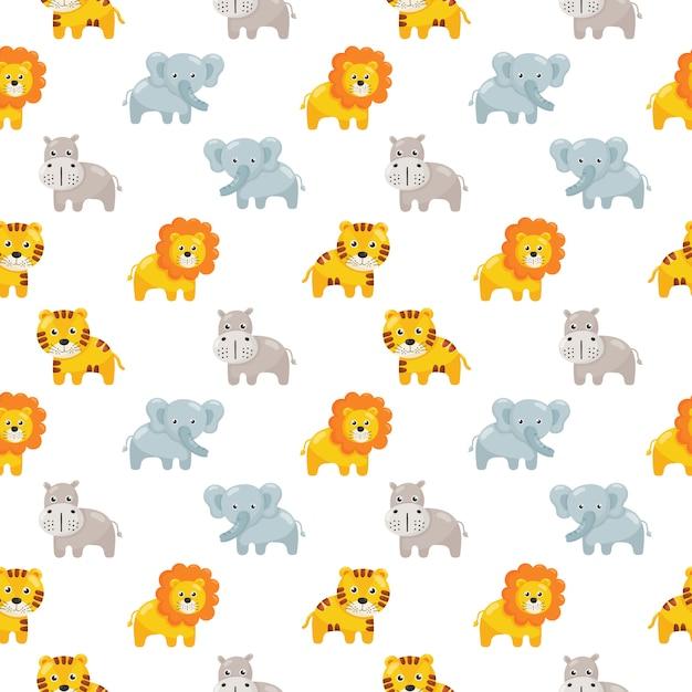 Naadloze patroon schattige dieren icon set voor kinderen op wit wordt geïsoleerd. Premium Vector