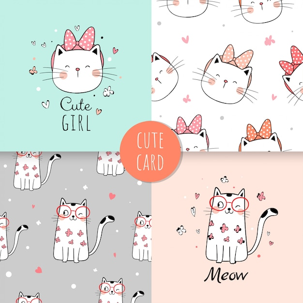 Naadloze patroon schattige kat voor stoffen textiel kinderen. Premium Vector