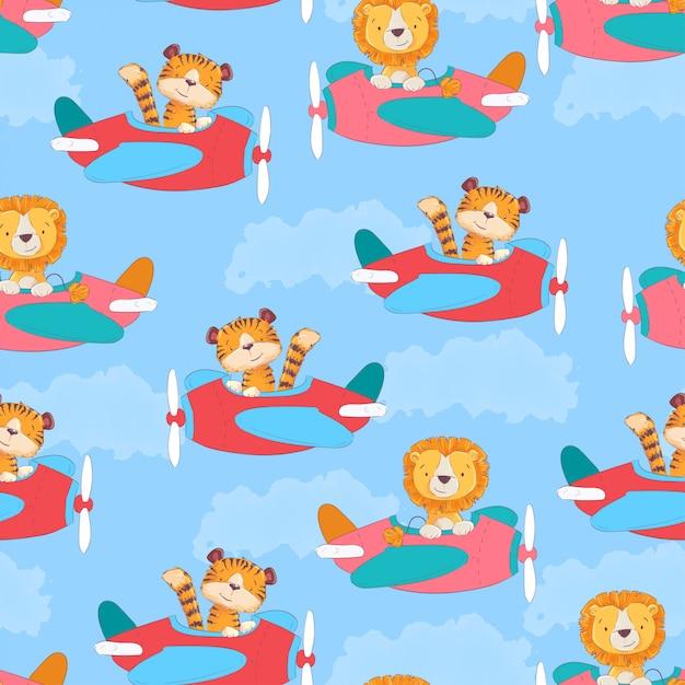 Naadloze patroon schattige tijger en leon op het vliegtuig in cartoon stijl. Premium Vector