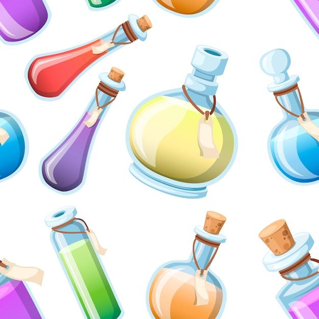 Naadloze patroon. set van magische drankjes. flessen met kleurrijke vloeistof. spel icoon van magisch elixer. paars drankje pictogram. mana, gezondheid, gif of magisch elixer. illustratie op witte achtergrond Premium Vector