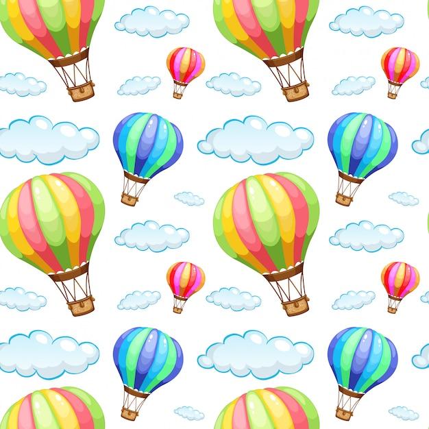 Naadloze patroon tegel cartoon met hete lucht ballonnen Gratis Vector