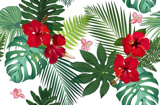 Naadloze patroon tropische bladeren met bloem Premium Vector