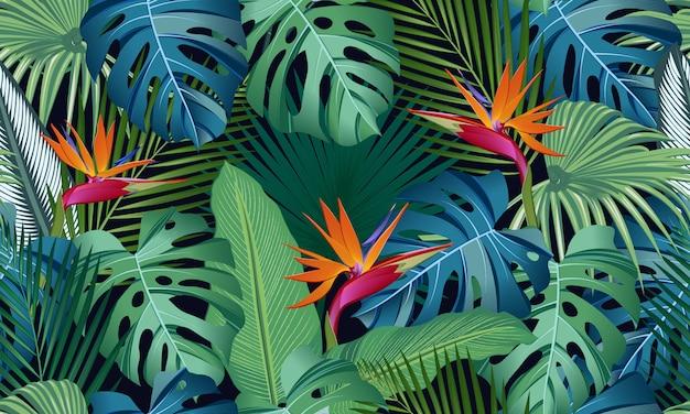 Naadloze patroon tropische bladeren met paradijsvogel Premium Vector
