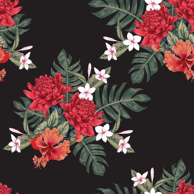 Naadloze patroon tropische bloemen Premium Vector