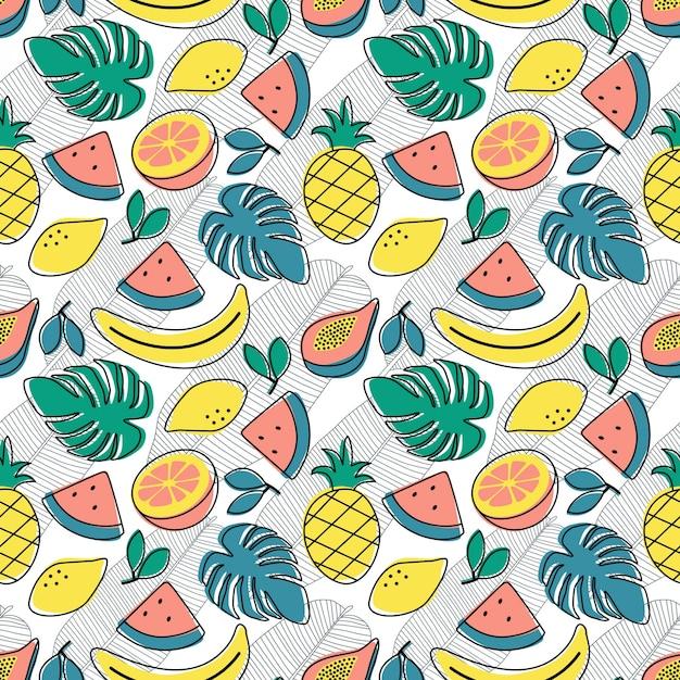 Naadloze patroon tropische fruit banaan watermeloen papaya citroen oranje monstera Premium Vector