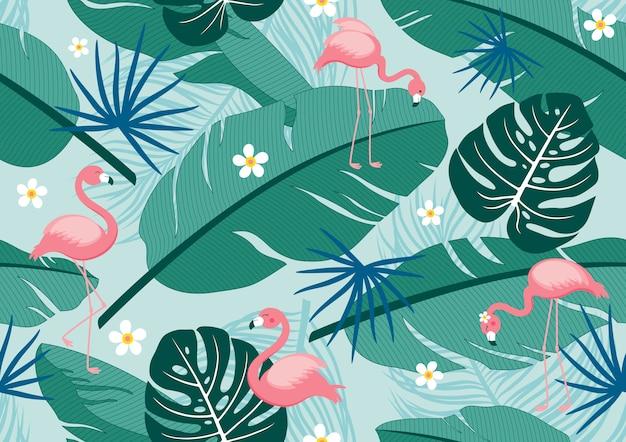 Naadloze patroon tropische zomer van bladeren en flamingo's Premium Vector