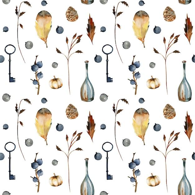 Naadloze patroon van aquarel herfst bloemen elementen, bessen, pompoenen, decoratieve vintage flessen en sleutels Premium Vector