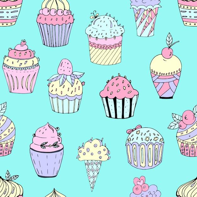 Naadloze patroon van cakes van verschillende kleuren Premium Vector