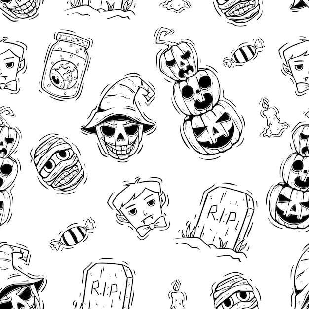 Naadloze patroon van halloween met hand getrokken stijl Premium Vector