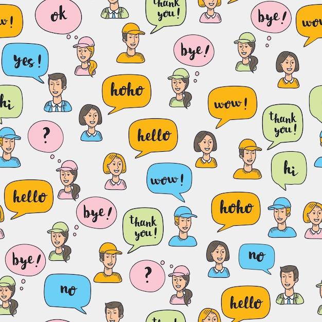 Naadloze patroon van llustrartion van interactieve veelkleurige tekstballonnen en avatars van mensen. Premium Vector