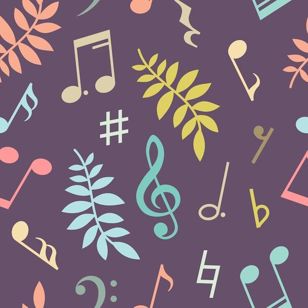 Naadloze patroon van muziek notities en bladeren Premium Vector