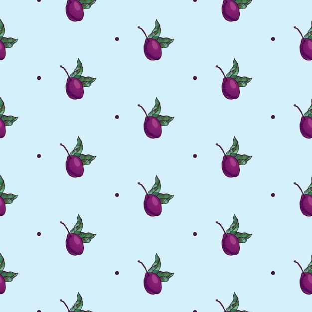 Naadloze patroon van pruimtak met fruit van pruim Gratis Vector