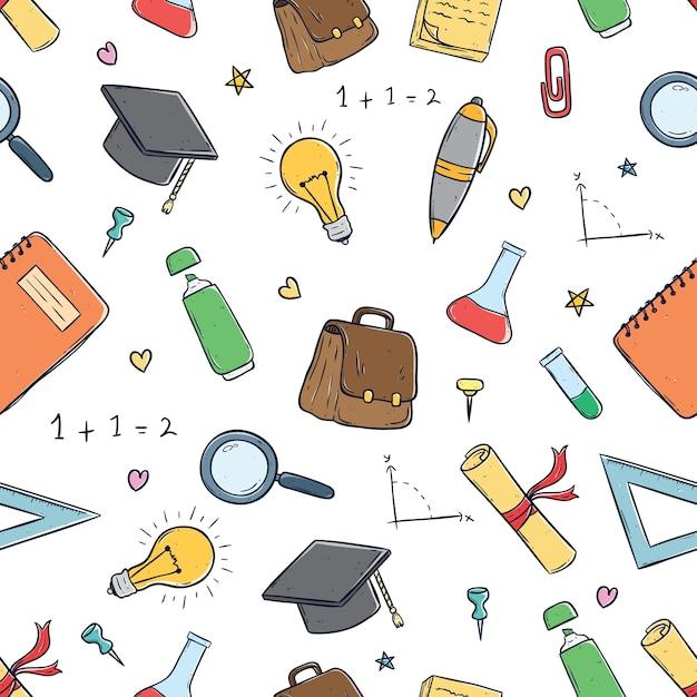 Naadloze patroon van schattige schoolbenodigdheden met behulp van doodle kunst Premium Vector