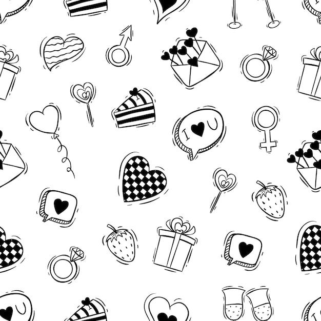 Naadloze patroon van schattige valentijn pictogrammen met doodle stijl Premium Vector