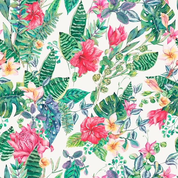 Naadloze patroon van tropische bloemen en bladeren Premium Vector
