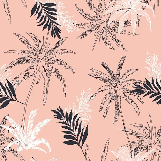 Naadloze patroon vector tropische jungle palmbladeren, Premium Vector