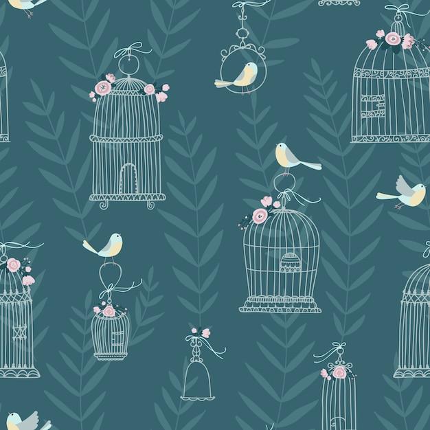 Naadloze patroon voor decoratieve vogelkooien, versierd met bloemen. vogels zitten en vliegen. handgetekende stijl Premium Vector