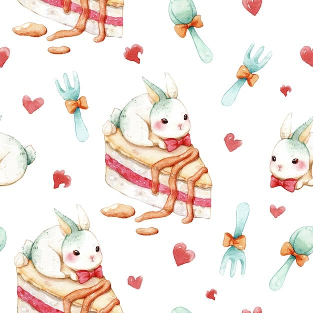 Naadloze patroon zoete cake en konijn aquarel Premium Vector