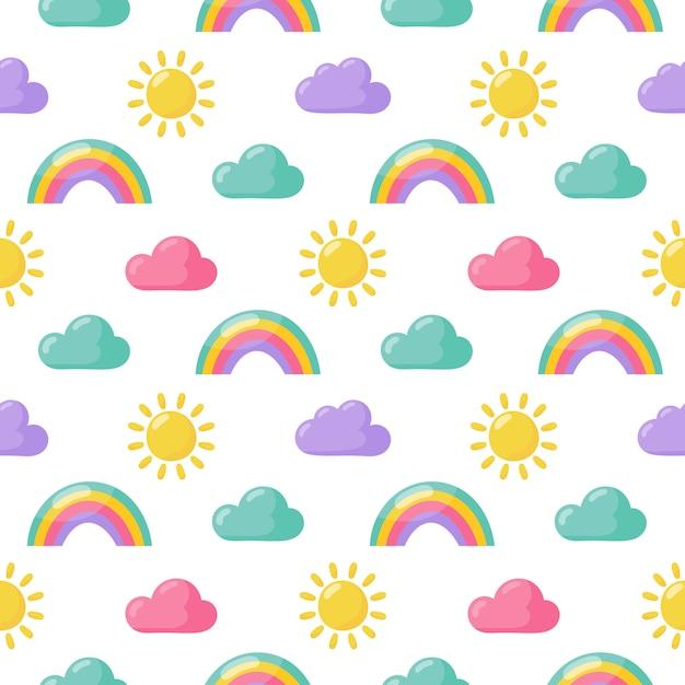 Naadloze patroon zon, regenboog en wolken. Premium Vector