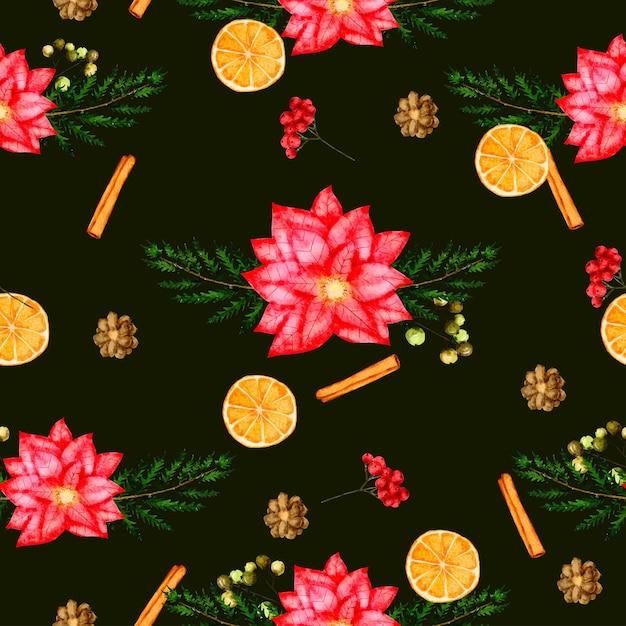 Naadloze patroonachtergrond met bladeren en bloem Gratis Vector