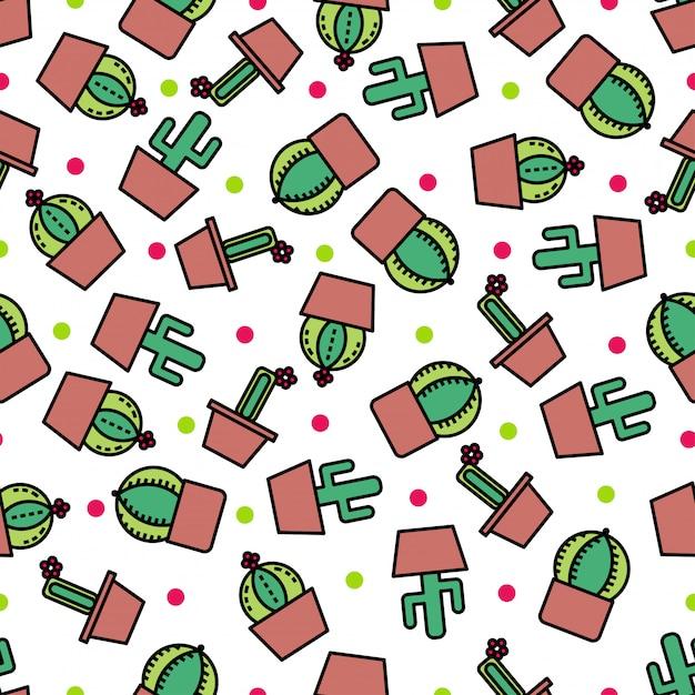 Naadloze patroonachtergrond met leuke cactus. Premium Vector