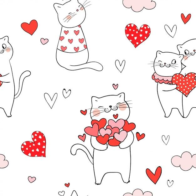 Naadloze patroonkat met rood hart voor valentijnskaartdag Premium Vector