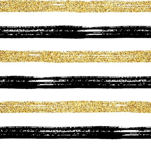 Naadloze penseelstreek patroon. zwarte en gouden glitter hand getrokken strepen op wit. geweven gestreept gouden abstract ontwerp als achtergrond. trendy textuur voor print, behang, decor, stof, textil Premium Vector