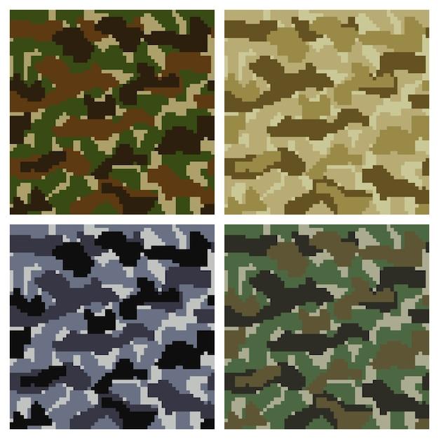 Naadloze pixel camouflage achtergrond set Gratis Vector