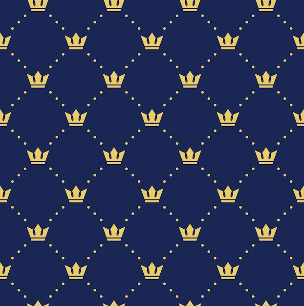 Naadloze retro patroon, met kronen. kan worden gebruikt voor behang, opvulpatronen, webpagina-achtergrond, oppervlaktestructuren Premium Vector
