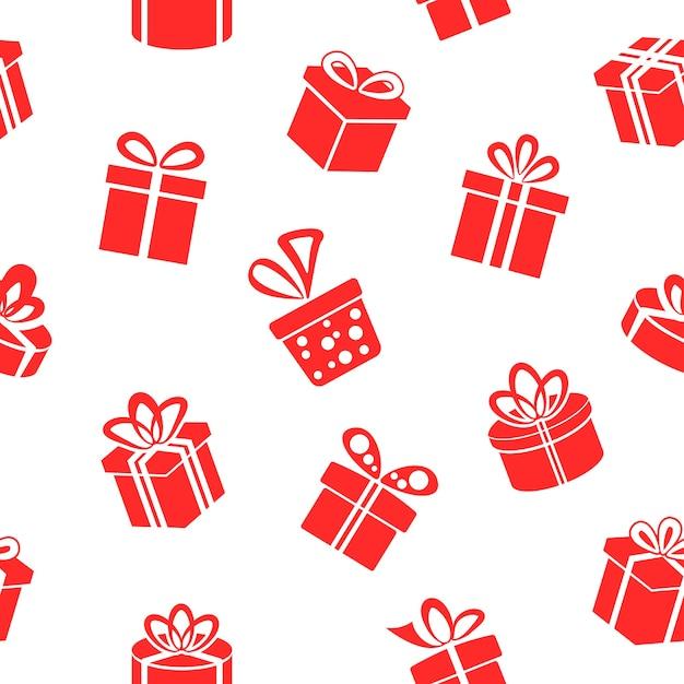 Naadloze rode geschenkdozen patroon Gratis Vector