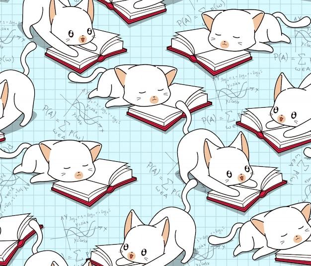 Naadloze schattig kat is het lezen van een boek patroon. Premium Vector