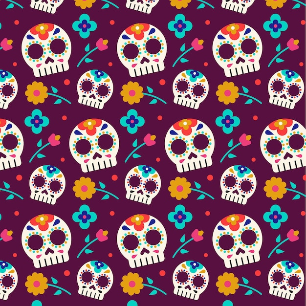 Naadloze schedels dag van de dode patroon sjabloon Gratis Vector
