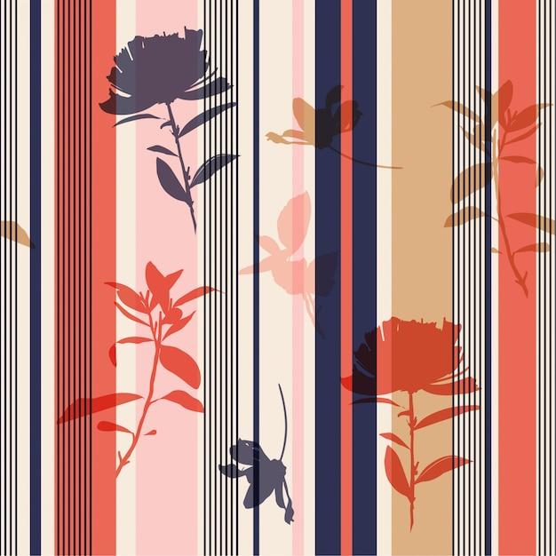 Naadloze silhouetbloem en bladerenpatroon op de kleurrijke vector van de strependruk Premium Vector