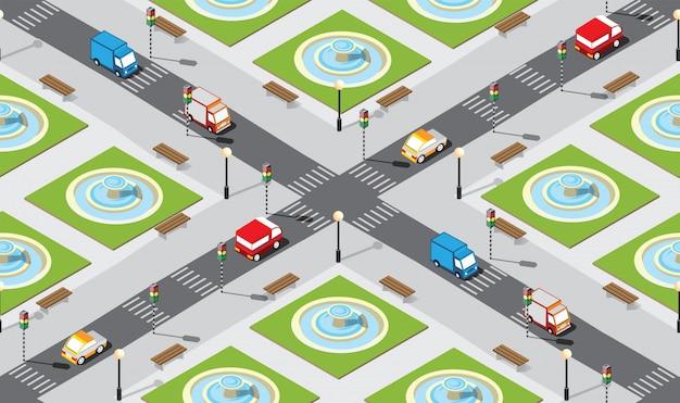 Naadloze stad kaart patroon Premium Vector