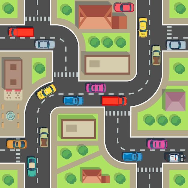 Naadloze stadsplattegrond. bovenaanzicht gebouw en straat met auto's en vrachtwagens. Premium Vector