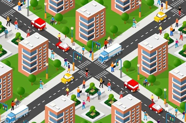 Naadloze stedelijke plan patroon kaart Premium Vector